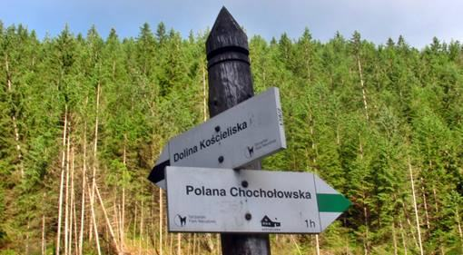 signpost in the Tatra National Park