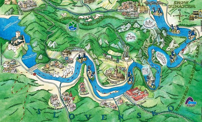 map of the dunajec gorge rafting